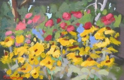 Spring at the Dahlia Farm Acrylic 4.5x6.5