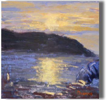 Monhegan Sunset Mixed Media 4.5 x 6.5