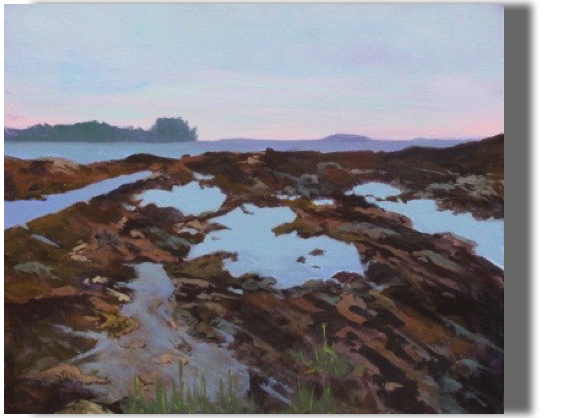 Tide Pools  20x24 - $500 - Gallery Pott's Point, Harpswell, ME .... Closing on dusk