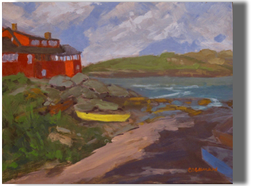 The Yellow Boat 8x10 - $200 - Studio Monhegan and the Red House