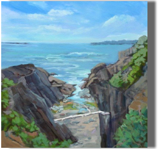 Storm Tossed 20x20 - $450 - Studio Giant's Stairs, Bailey Island Impressive and beautiful
