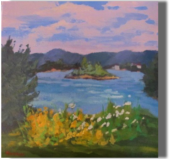 Summers at the Lake  12x12 - $300 - Gallery Memories from the heart
