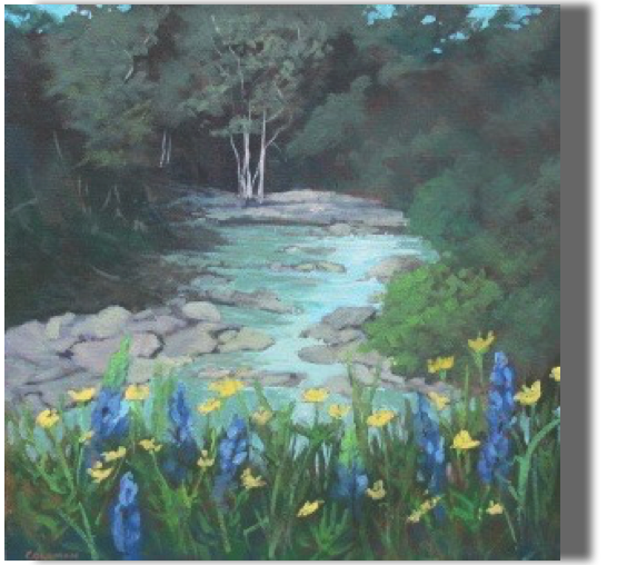 Lupines at Creekside 20x20 - $450 - Studio A quiet corner of Maine....
