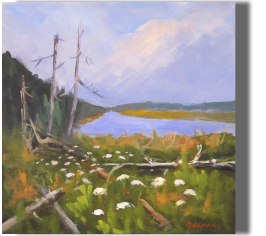 Resurrection 12x12 - $300 - Studio Mill Pond at Goose River Preserve ...Queen Anne's lace....