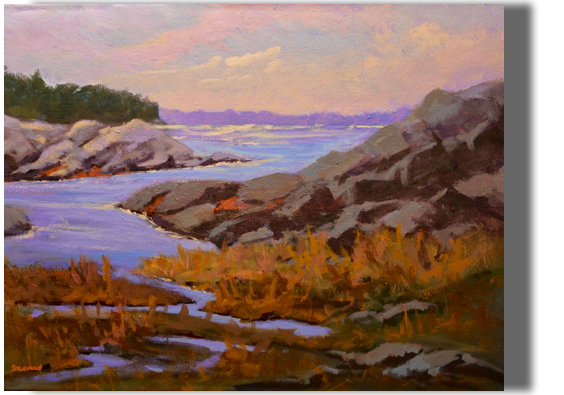 Summertime Blues 18x24 - $375 - Gallery Maine's coast, late afternoon