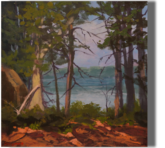 Water View 12x12 - $300 - Gallery Cliff Trail, Harpswell, ME Heritage Land Trust