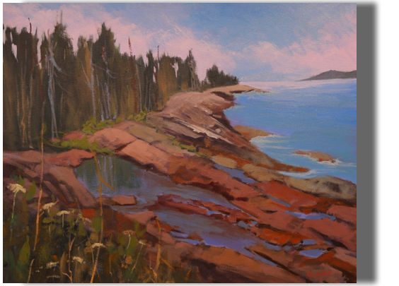 Lands End 20x24  - $500 - Gallery  La Verna Preserve, Chamberlain, ME A very special place