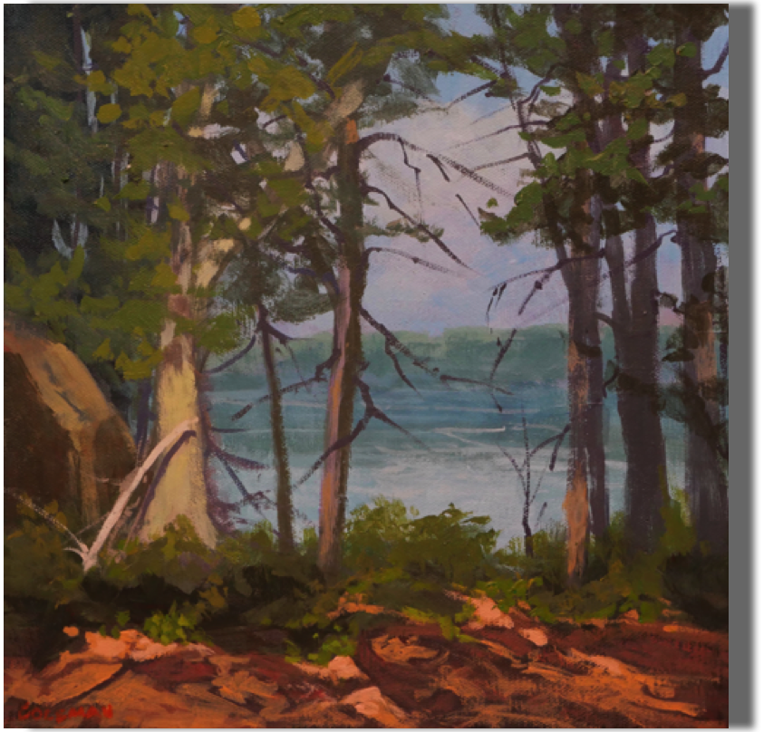 Water View 12x12 - $300  Cliff Trail, Harpswell