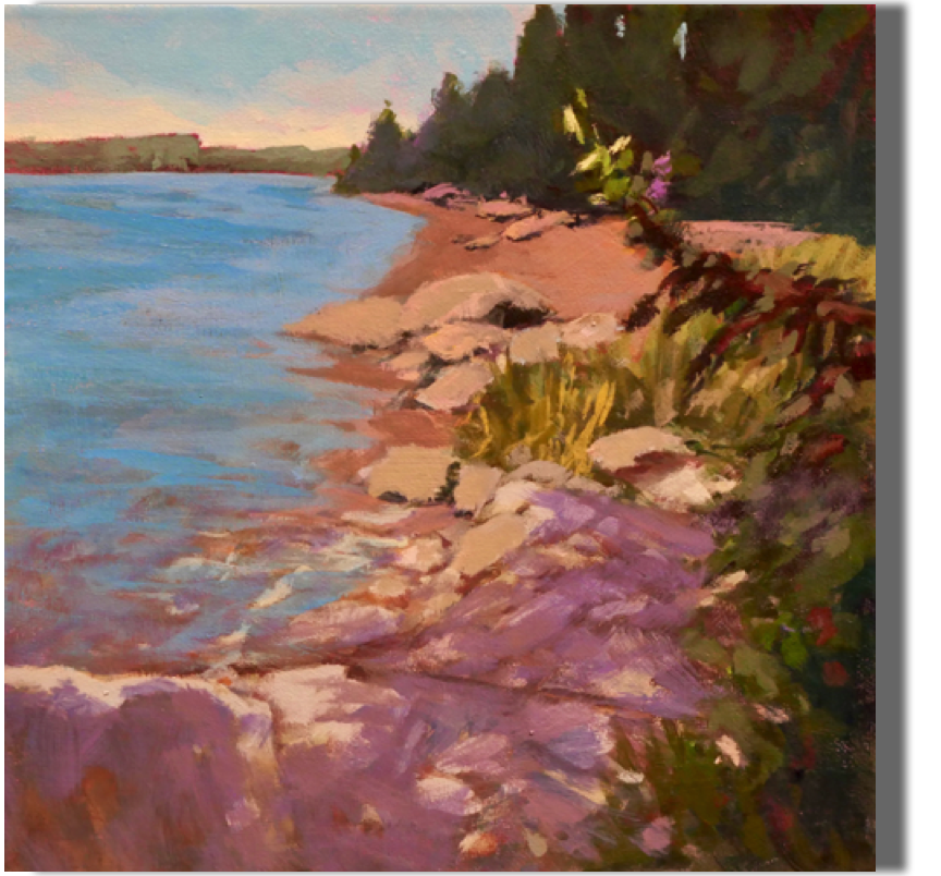 Sunlight and Shadow 12x12 - $300 Kennebec River